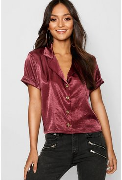 Womens Petite Hammered Satin Mock Horn Shirt