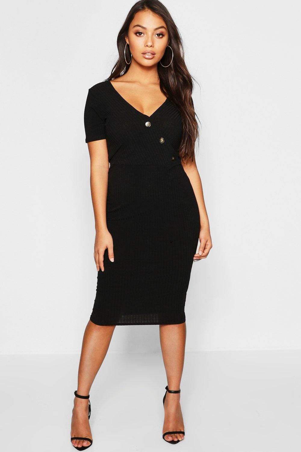 Petite Knitted Rib Wrap Bodycon Dress