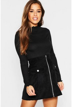 Womens Black Petite Lettuce Hem Turtle Neck Top