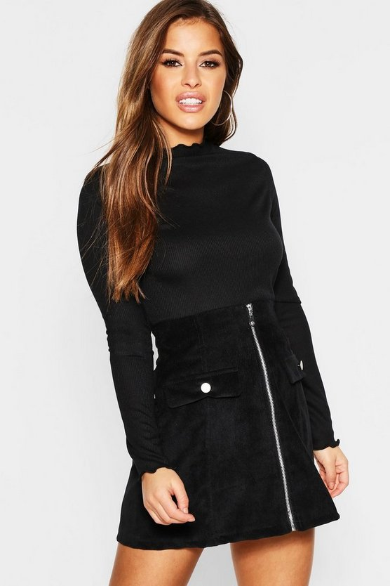 Petite Lettuce Hem Turtle Neck Top