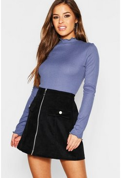 Dusty blue Petite Lettuce Hem Turtle Neck Top