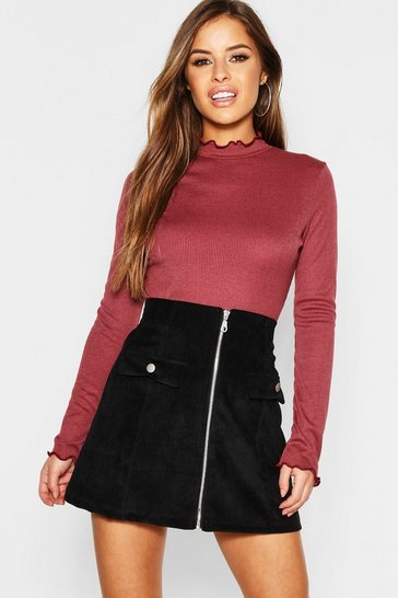 Womens Wine Petite Lettuce Hem Turtle Neck Top