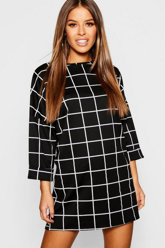 Petite Slouchy Grid Check Shift Dress