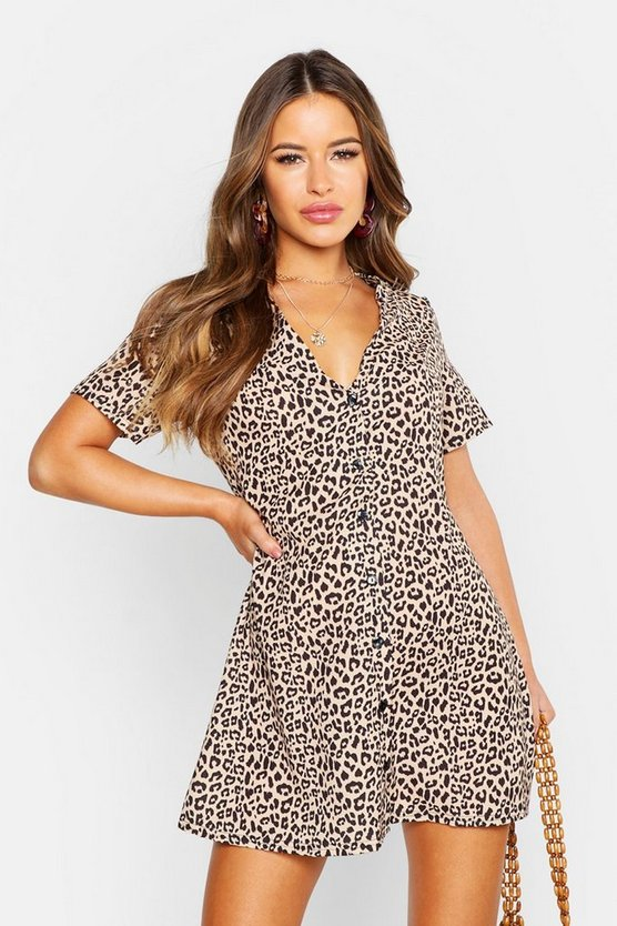 Womens Brown Petite Leopard Print Button Shift Dress