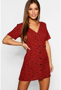 Womens Red Petite Leopard Print Button Shift Dress