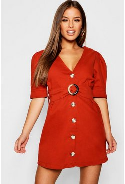 Womens Rust Petite Button Front Bodycon Dress