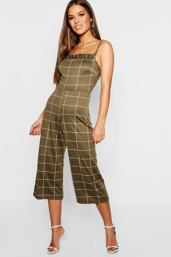 Womens Khaki Petite Ruffle Neck Wide Leg Jumpsuit
