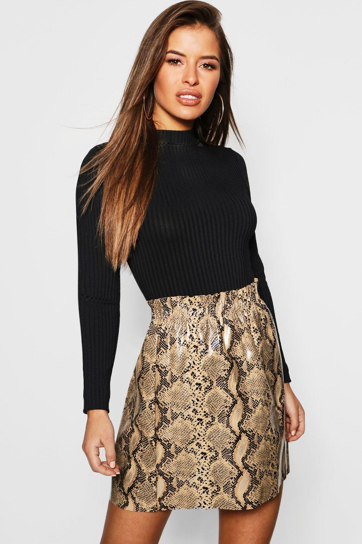 Petite PU Snake Print Skirt