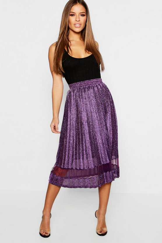 Petite Metallic Pleated Midi Skirt