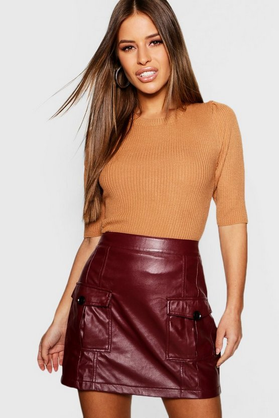 Womens Tan Petite Contrast Button Mini Skirt