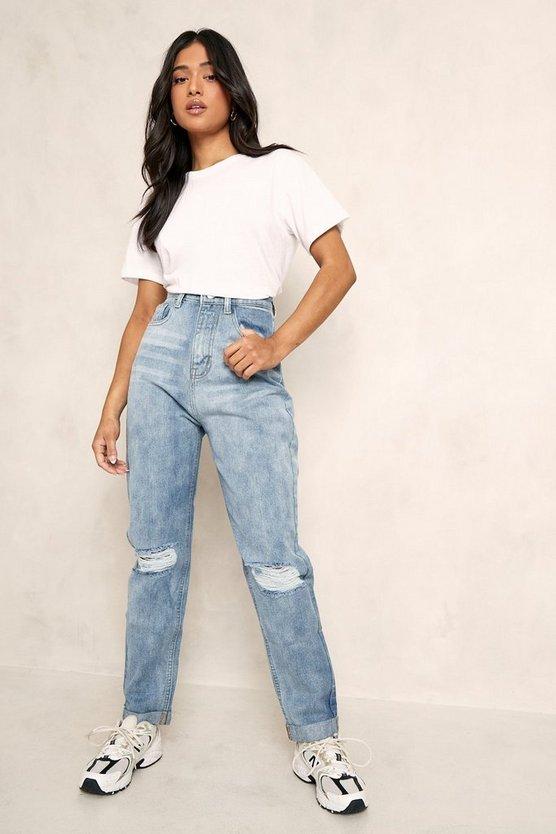 Petite Ripped Boyfrend Jeans by Boohoo