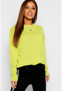 Womens Lime Petite Boxy Crew Neck Jumper