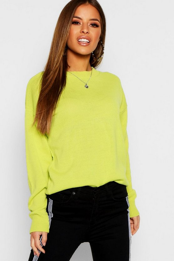 Womens Petite Boxy Crew Neck Jumper