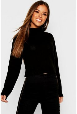 Black Petite Roll Neck Crop Jumper