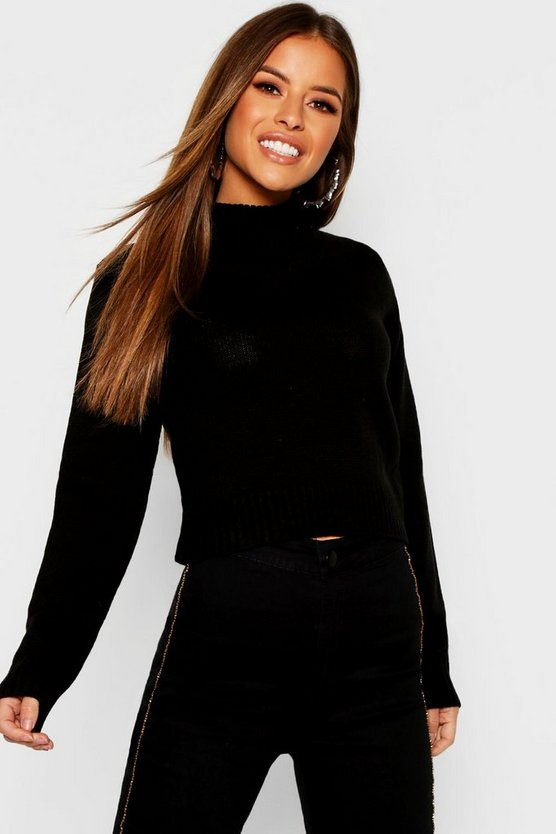 Womens Black Petite Roll Neck Crop Jumper