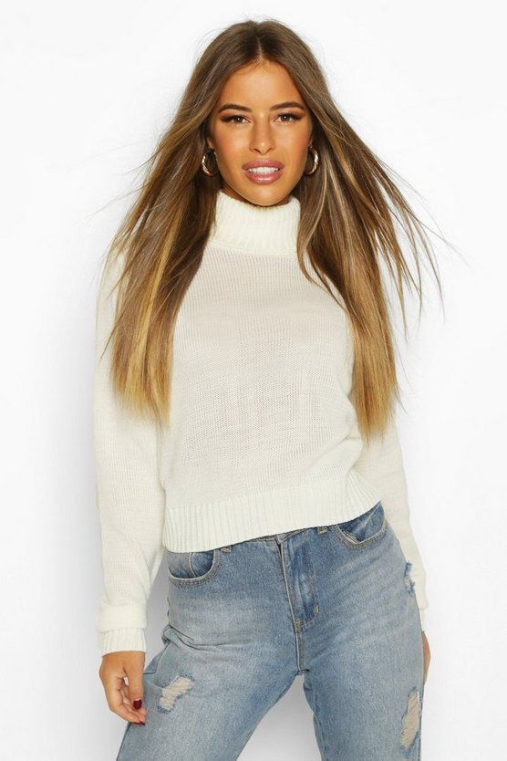 Ecru Petite Roll Neck Crop Sweater