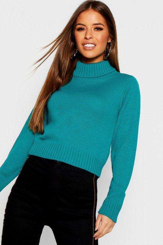 Womens Emerald Petite Roll Neck Crop Sweater
