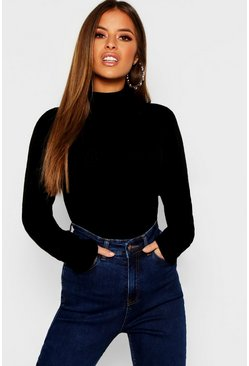 Womens Black Petite Rib Knit Roll Neck Sweater