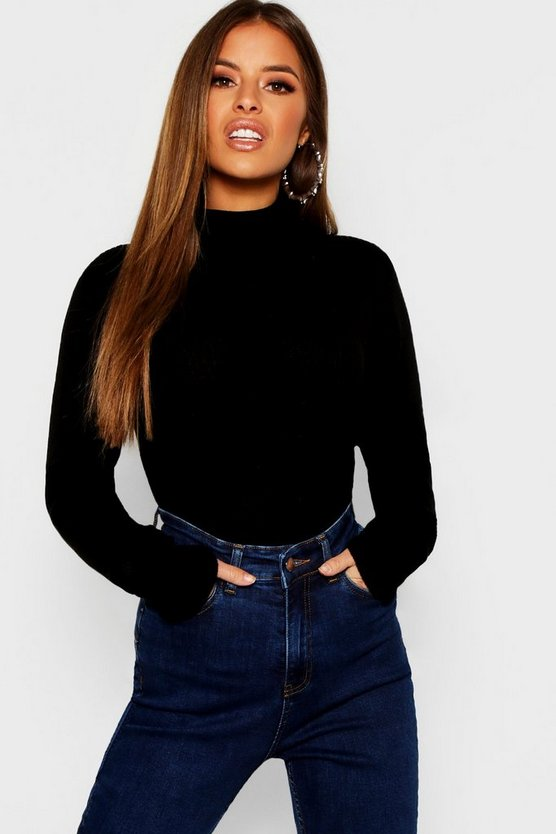 Petite Rib Knit Roll Neck Sweater
