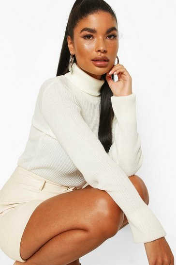 Ivory Petite Rib Knit Roll Neck Jumper
