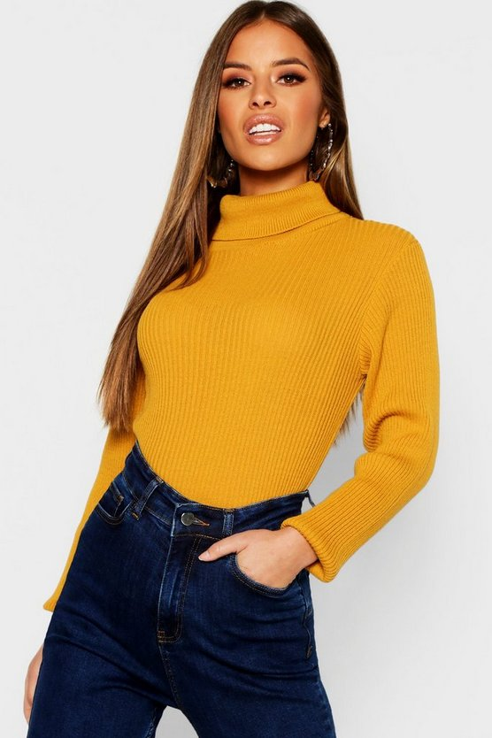 Womens Mustard Petite Rib Knit Roll Neck Jumper