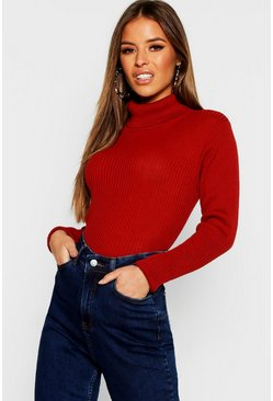 Rust Petite Rib Knit Roll Neck Jumper