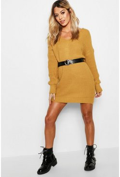 Womens Mustard Petite Knot Back Jumper Dress