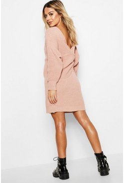 Womens Pink Petite Knot Back Jumper Dress