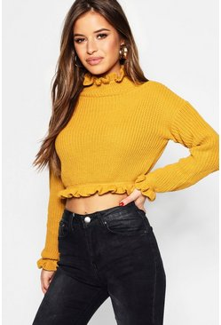 Womens Mustard Petite Ruffle Neck Crop Jumper