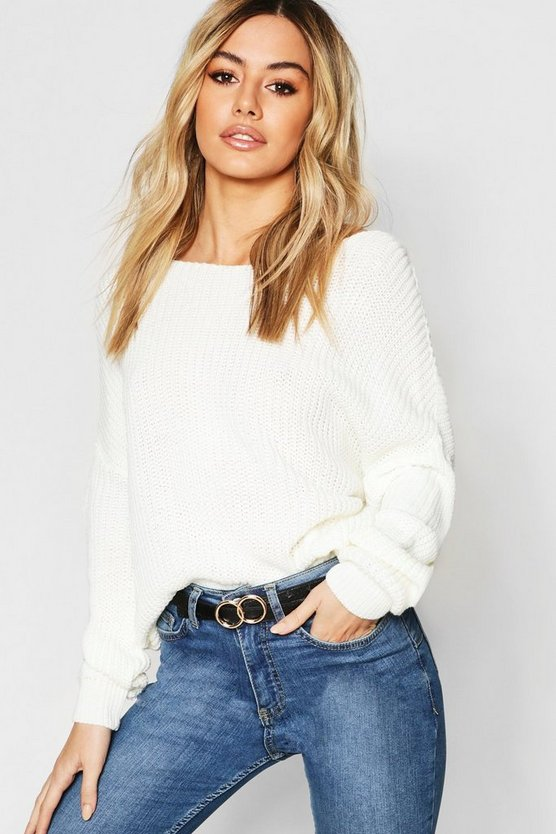 Petite Knot Back Oversized Jumper