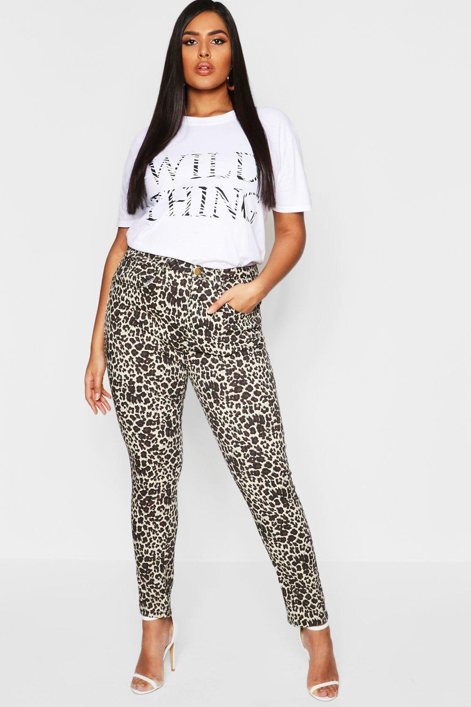 Plus Leopard Print Stretch Skinny Jean