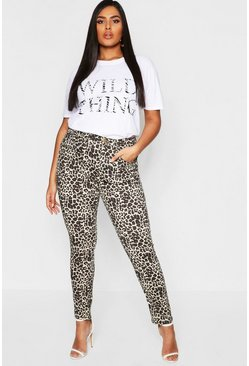 Womens Tan Plus Leopard Print Stretch Skinny Jean