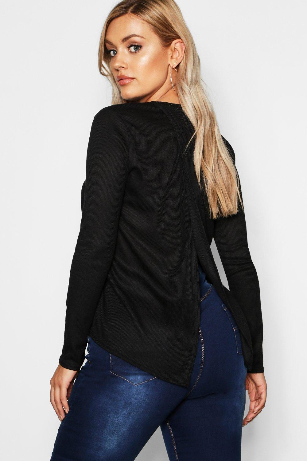 Plus Soft Rib Open Back Jumper
