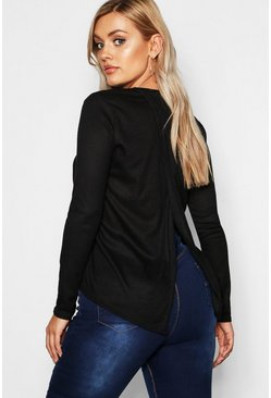 Womens Black Plus Soft Rib Open Back Jumper