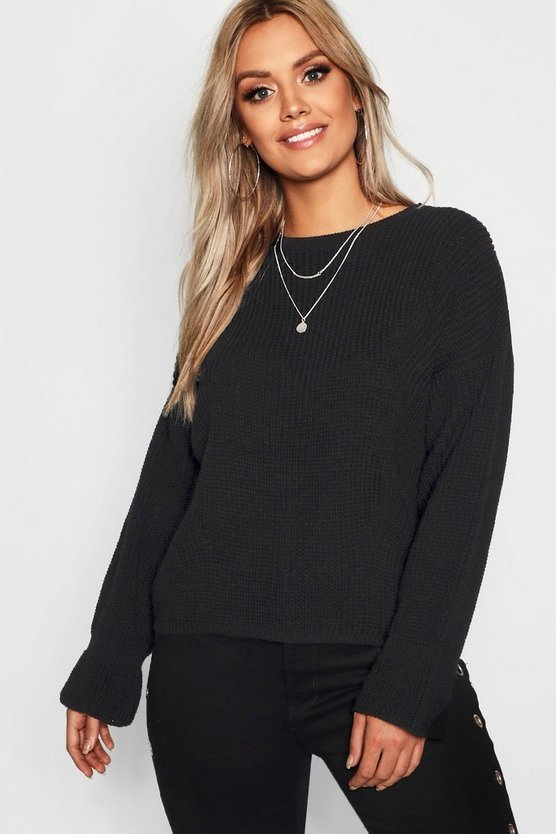 Womens Black Plus Cuff Detail Fisherman Sweater