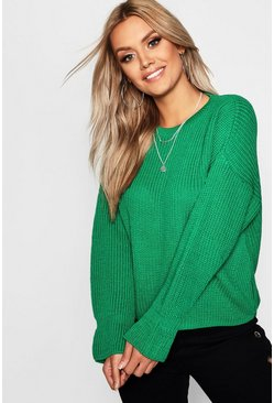 Womens Emerald Plus Cuff Detail Fisherman Jumper