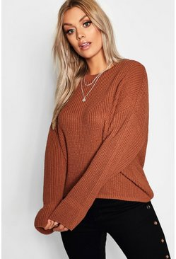 Womens Terracotta Plus Cuff Detail Fisherman Jumper