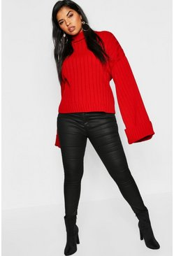Womens Red Plus Maxi Sleeve Wide Rib Jumper