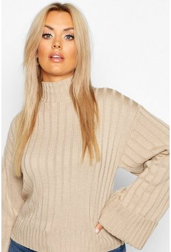 Dam Stone Plus Maxi Sleeve Wide Rib Jumper