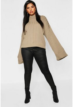 Womens Taupe Plus Maxi Sleeve Wide Rib Jumper