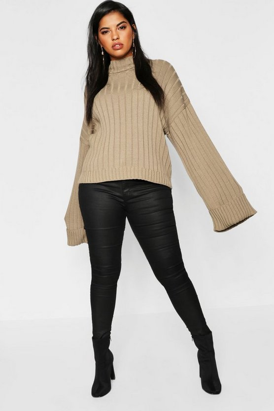Plus Maxi Sleeve Wide Rib Jumper