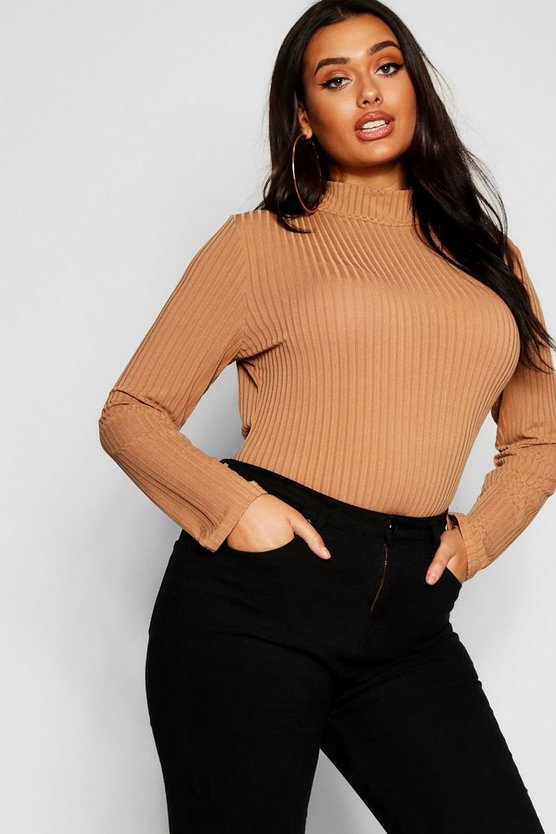 Plus Rib Knit Turtle Neck Jumper