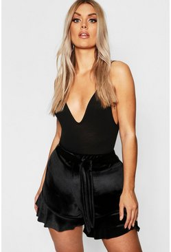 Womens Black Plus Velvet High Waist Short