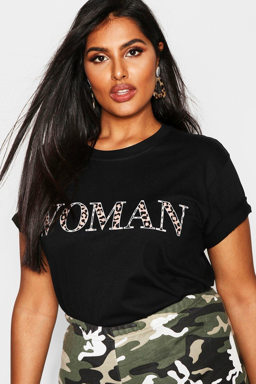Plus Woman Leopard Oversized T Shirt