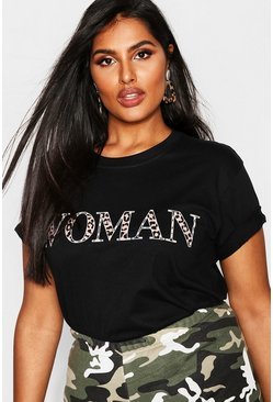 Womens Black Plus Woman Leopard Oversized T Shirt