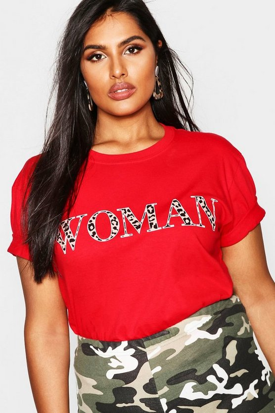 Womens Red Plus Woman Leopard Oversized T Shirt