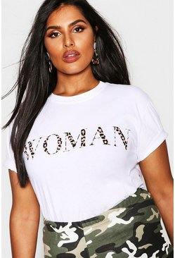 Plus Oversized Damen-T-Shirt mit Leoparden-Print, Weiß, Damen