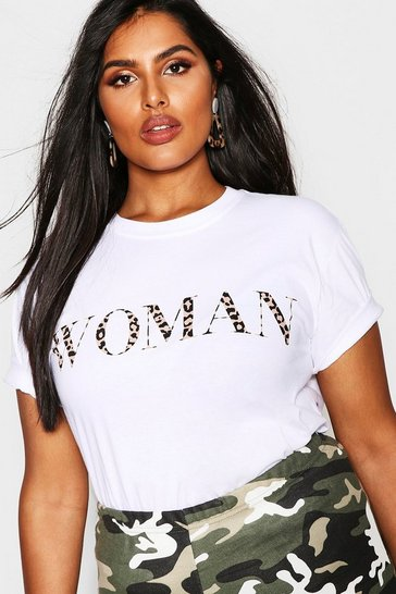 Womens White Plus Woman Leopard Oversized T Shirt
