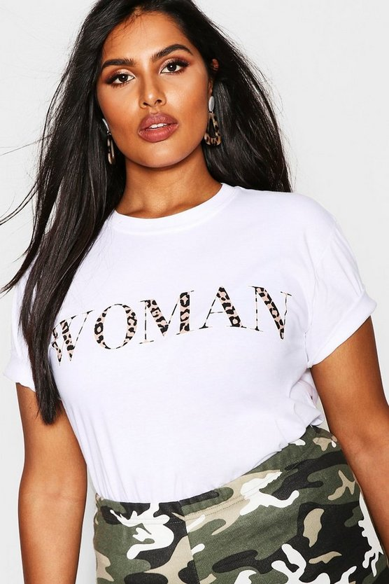 Plus Woman Leopard Oversized T Shirt