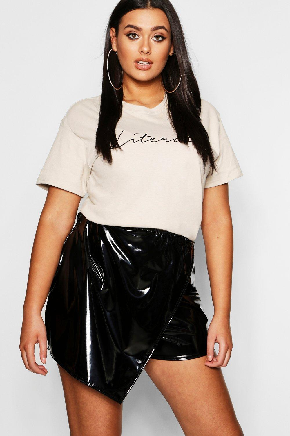 Plus Faux Leather Skort